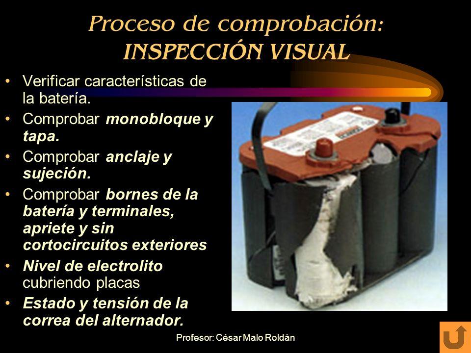 Profesor: César Malo Roldán Comprobación de baterías Funciona correctamente cuando es capaz de suministrar la energía suficiente para alimentar un mot