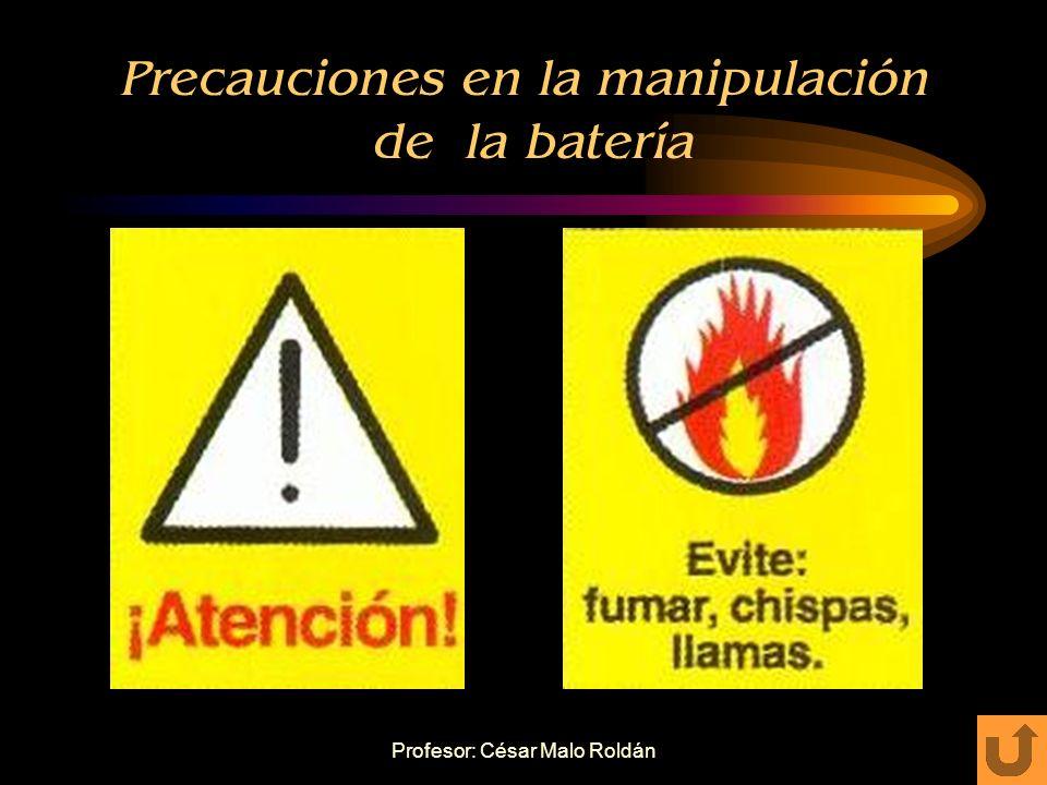 Profesor: César Malo Roldán Proceso de comprobación: ESTADO DE LA BATERÍA CON POLÍMETRO Estados de batería defectuosa o mal estado: Conectar la baterí