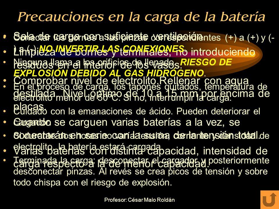 Profesor: César Malo Roldán Precauciones en la manipulación de la batería