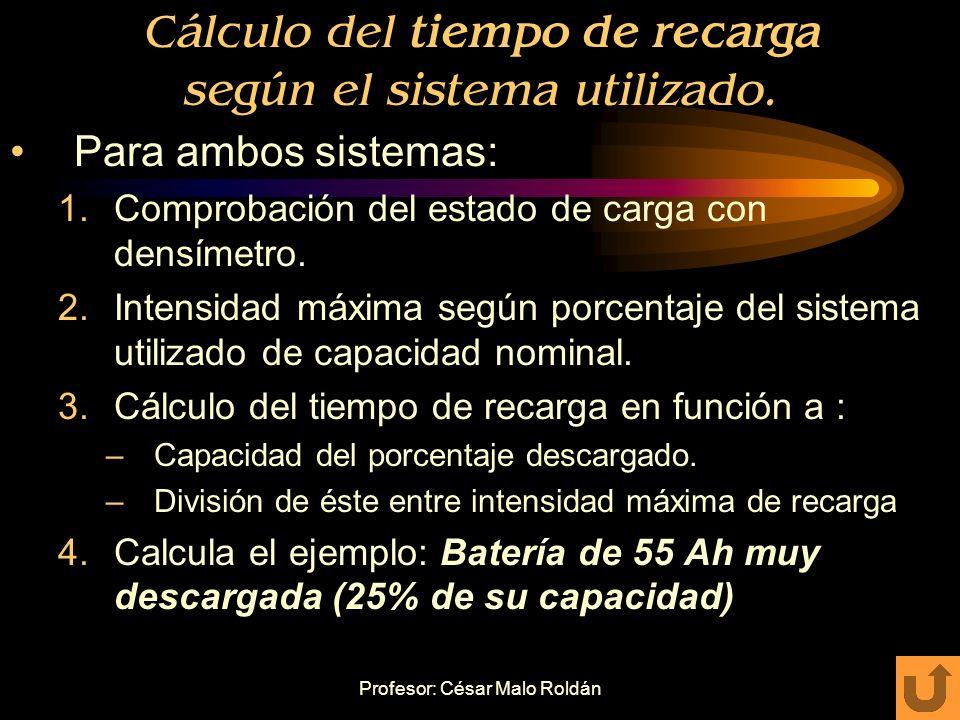 Profesor: César Malo Roldán Sistemas de carga Sistema Rápido: Intensidad máxima de carga 1/10 (10%) de capacidad nominal. Uso para baterías poco desca
