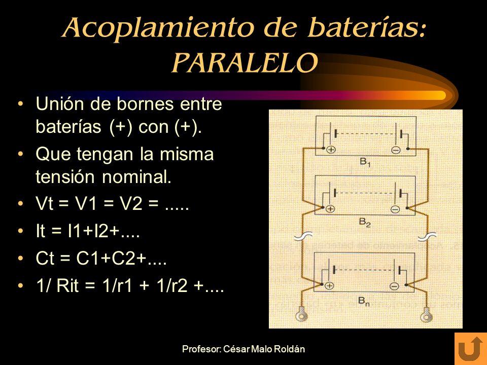 Profesor: César Malo Roldán Acoplamiento de baterías: SERIE Unión de bornes entre baterías (+) con (-). Que tengan la misma capacidad. Vt = V1+V2+....