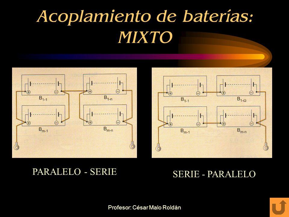 Profesor: César Malo Roldán Acoplamiento de baterías: PARALELO Unión de bornes entre baterías (+) con (+). Que tengan la misma tensión nominal. Vt = V