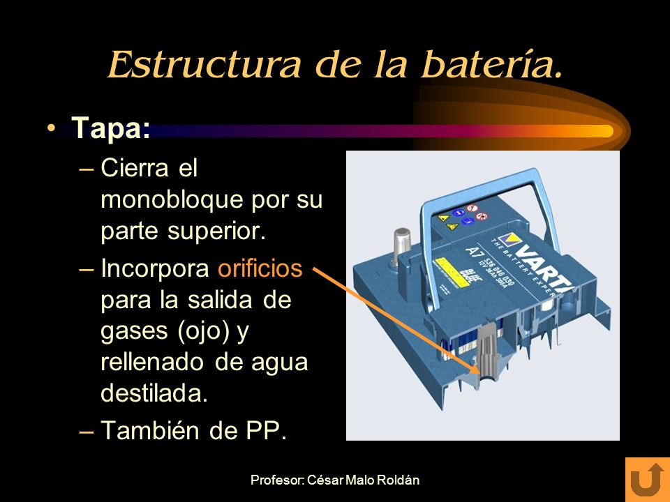 Profesor: César Malo Roldán Estructura de la batería. Monobloque: –Recipiente dividido en celdas individuales. Contienen cada una los bloques activos.