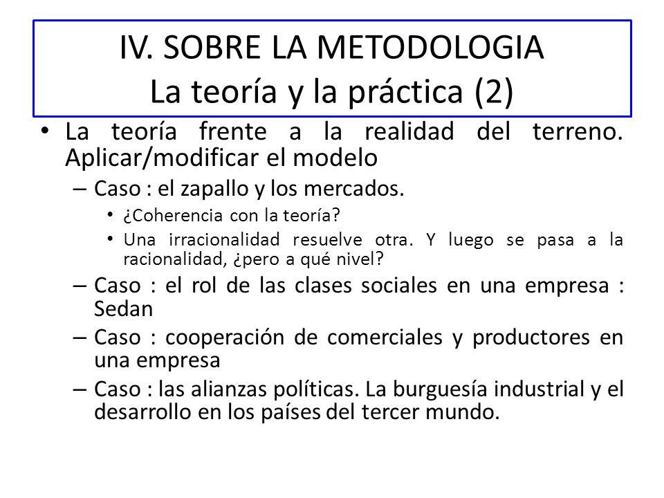 IV. SOBRE LA METODOLOGIA La teoría y la práctica (2) La teoría frente a la realidad del terreno. Aplicar/modificar el modelo – Caso : el zapallo y los