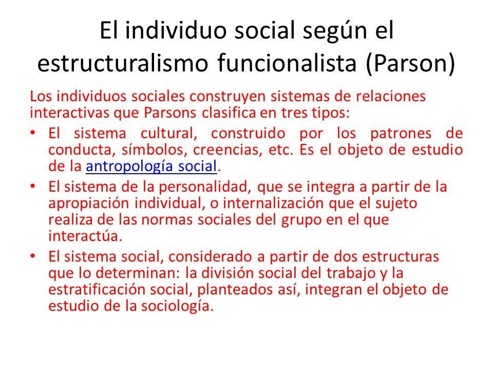 El individuo social según el estructuralismo funcionalista (Parson) Los individuos sociales construyen sistemas de relaciones interactivas que Parsons