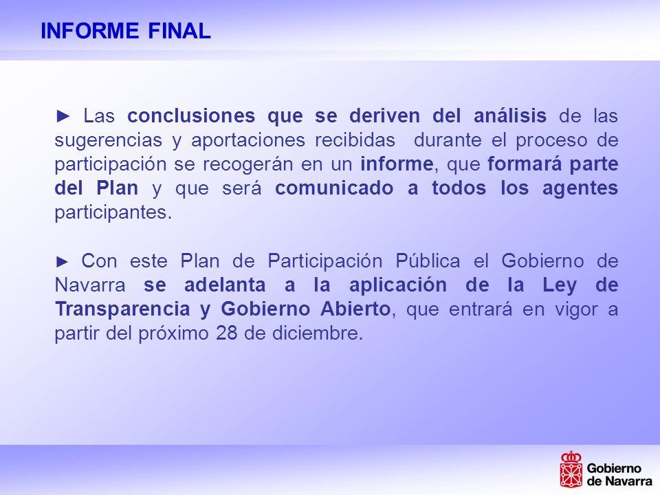 INFORME FINAL Las conclusiones que se deriven del análisis de las sugerencias y aportaciones recibidas durante el proceso de participación se recogerán en un informe, que formará parte del Plan y que será comunicado a todos los agentes participantes.