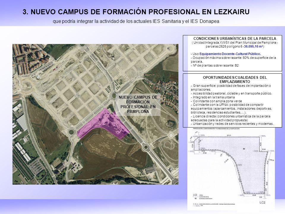 CONDICIONES URBANÍSTICAS DE LA PARCELA ( Unidad Integrada XVI/S1 del Plan Municipal de Pamplona - parcelas 2526 polígono 5 -36.095,16 m 2 ) - Uso Equipamiento Docente-Cultural Público.