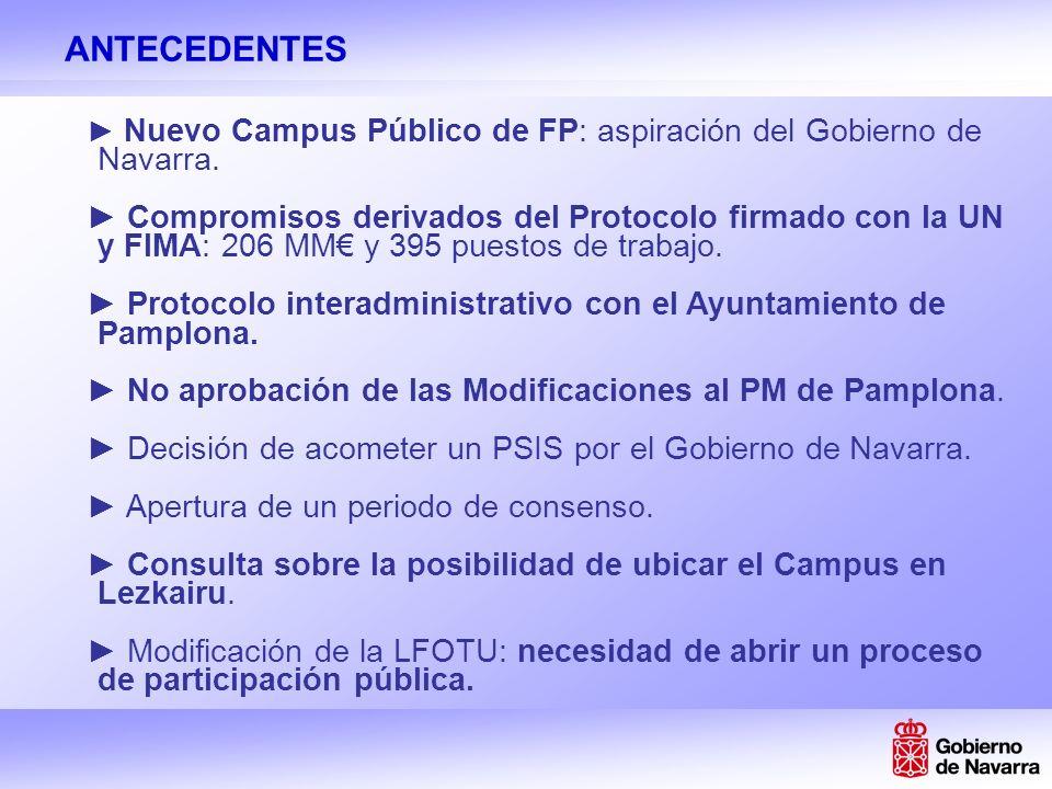 ANTECEDENTES Nuevo Campus Público de FP: aspiración del Gobierno de Navarra.
