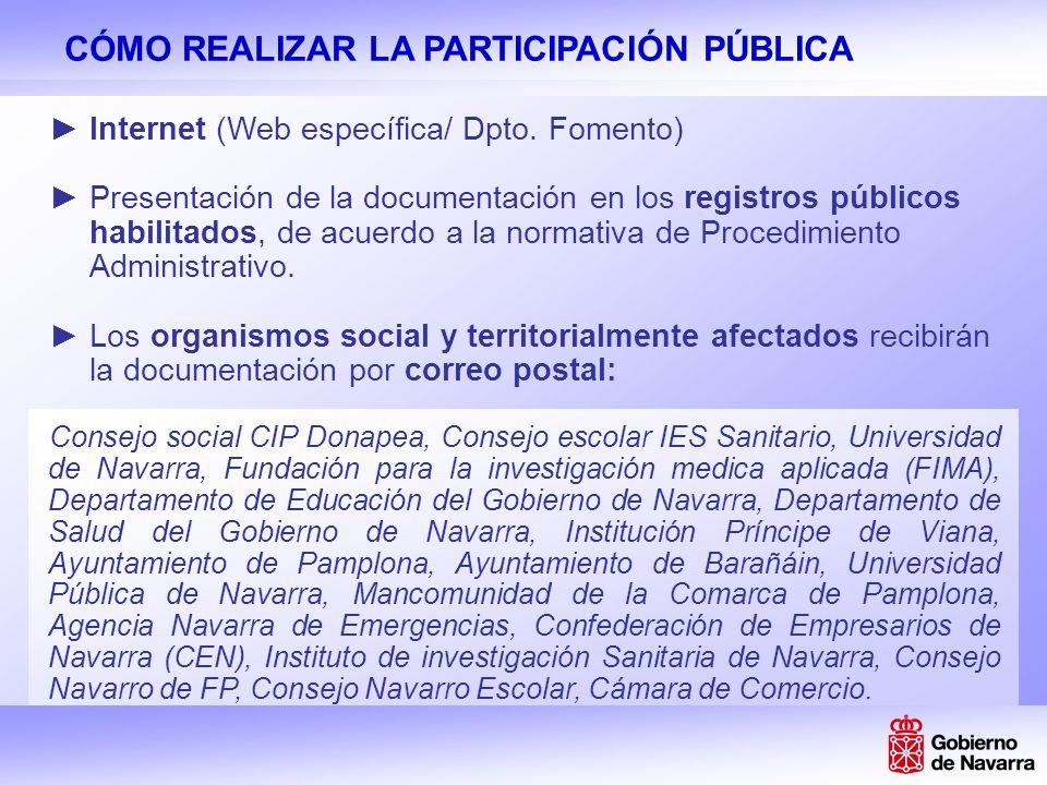 PARTICIPACIÓN PÚBLICA A TRAVÉS DE INTERNET www.participacioncampusFP.navarra.es Web. Dpto. Fomento