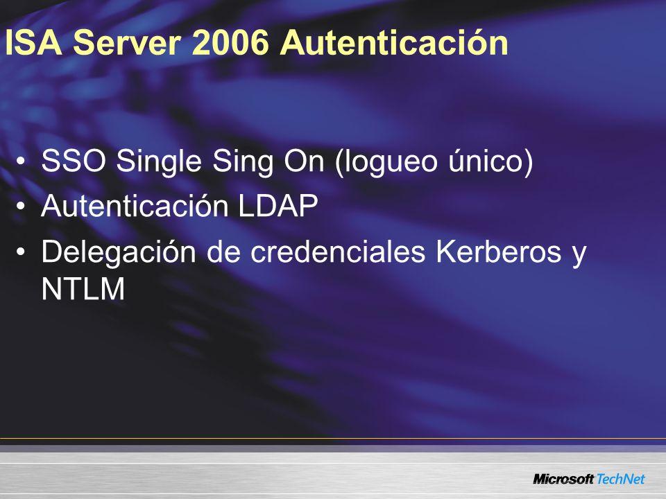 ISA Server 2006 Autenticación SSO Single Sing On (logueo único) Autenticación LDAP Delegación de credenciales Kerberos y NTLM