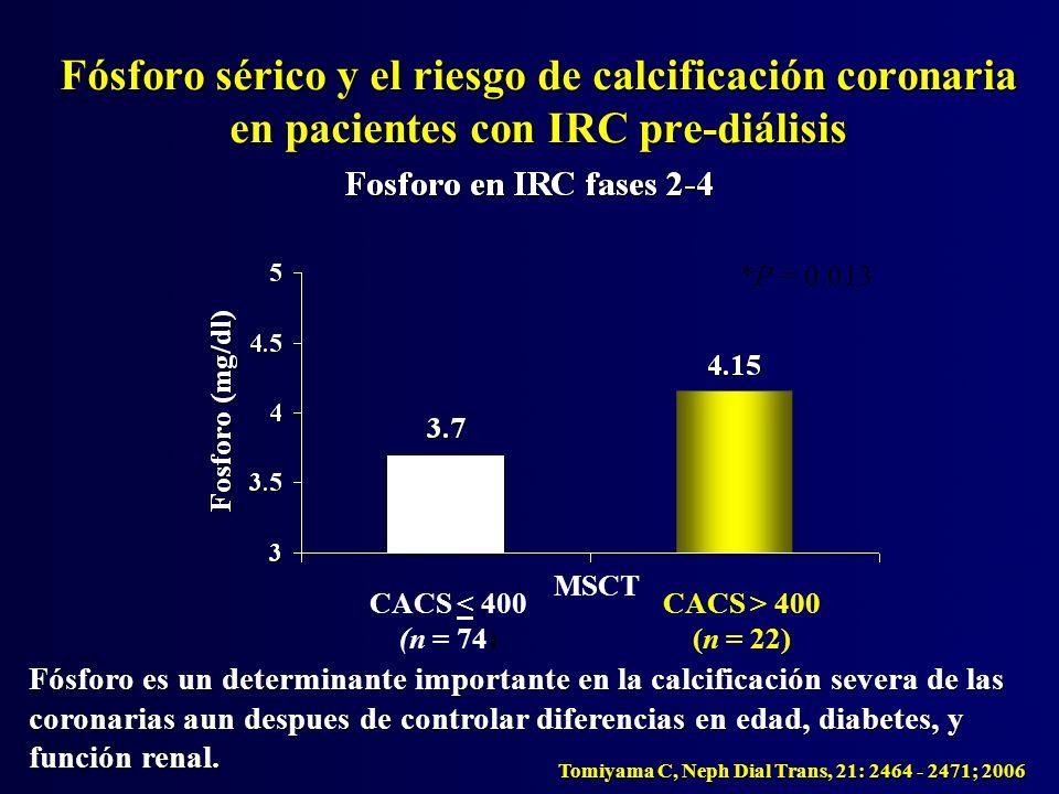 *P = 0.013 Fósforo sérico y el riesgo de calcificación coronaria en pacientes con IRC pre-diálisis Tomiyama C, Neph Dial Trans, 21: 2464 - 2471; 2006