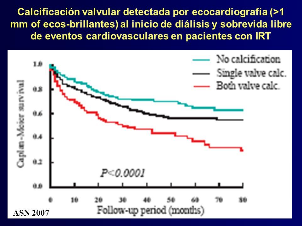 Calcificación valvular detectada por ecocardiografía (>1 mm of ecos-brillantes) al inicio de diálisis y sobrevida libre de eventos cardiovasculares en