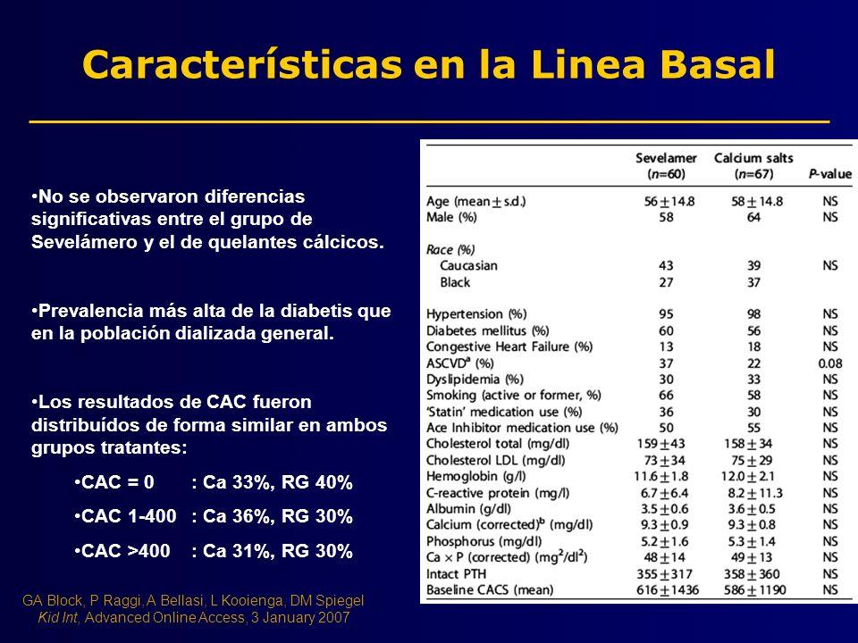 Características en la Linea Basal No se observaron diferencias significativas entre el grupo de Sevelámero y el de quelantes cálcicos. Prevalencia más