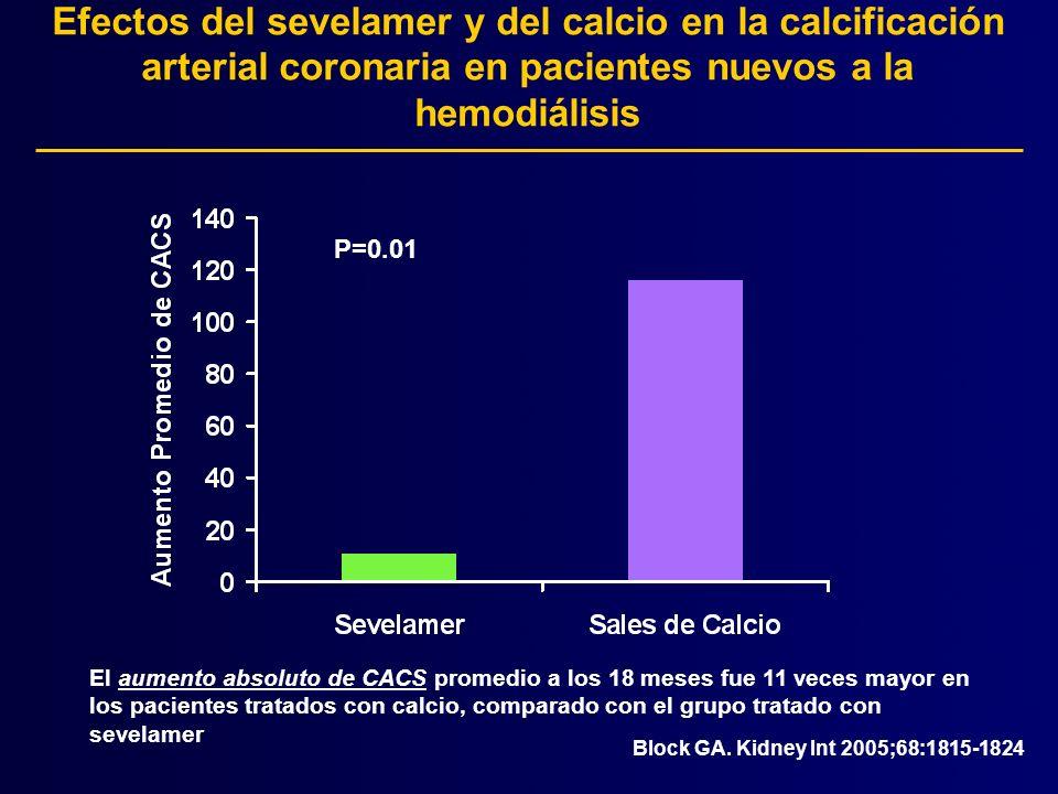 Efectos del sevelamer y del calcio en la calcificación arterial coronaria en pacientes nuevos a la hemodiálisis El aumento absoluto de CACS promedio a