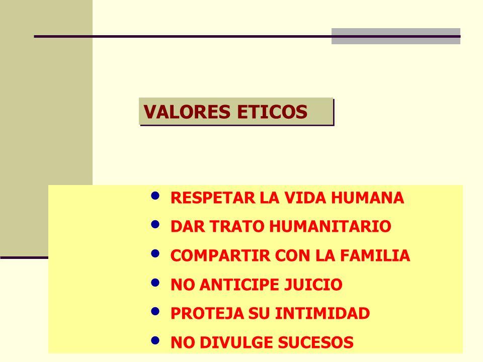 VALORES ETICOS RESPETAR LA VIDA HUMANA DAR TRATO HUMANITARIO COMPARTIR CON LA FAMILIA NO ANTICIPE JUICIO PROTEJA SU INTIMIDAD NO DIVULGE SUCESOS