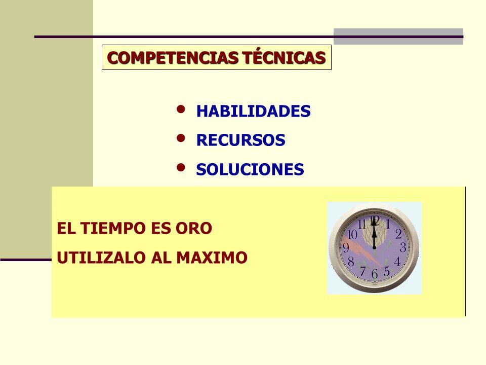 EL TIEMPO ES ORO UTILIZALO AL MAXIMO COMPETENCIAS TÉCNICAS HABILIDADES RECURSOS SOLUCIONES