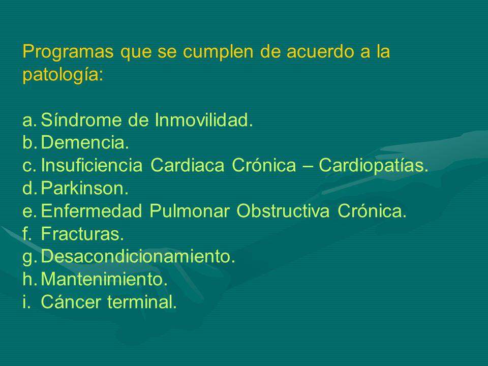 Programas que se cumplen de acuerdo a la patología: a.Síndrome de Inmovilidad. b.Demencia. c.Insuficiencia Cardiaca Crónica – Cardiopatías. d.Parkinso