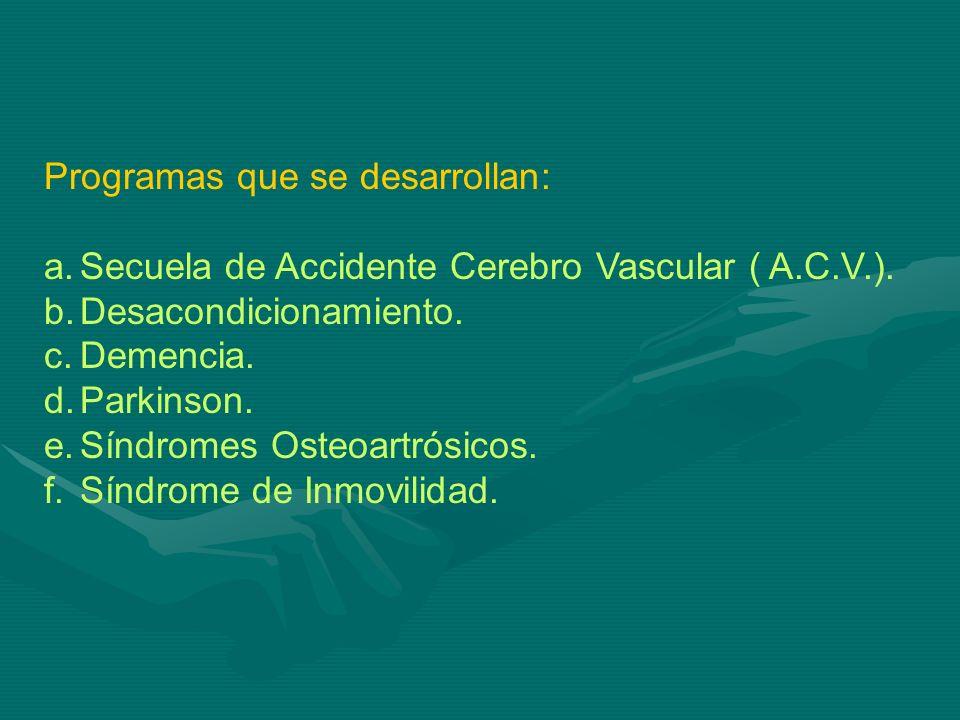 Programas que se desarrollan: a.Secuela de Accidente Cerebro Vascular ( A.C.V.). b.Desacondicionamiento. c.Demencia. d.Parkinson. e.Síndromes Osteoart