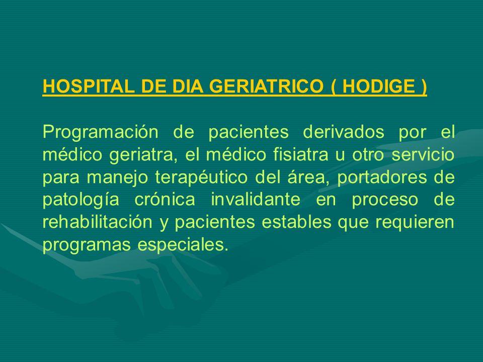 HOSPITAL DE DIA GERIATRICO ( HODIGE ) Programación de pacientes derivados por el médico geriatra, el médico fisiatra u otro servicio para manejo terap