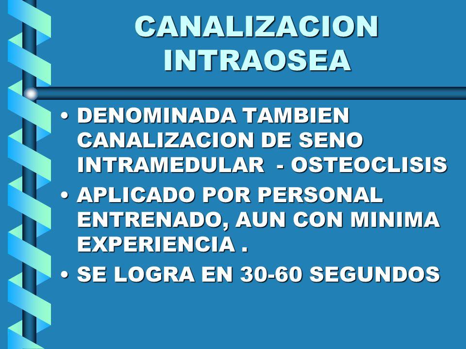 CANALIZACION INTRAOSEA DENOMINADA TAMBIEN CANALIZACION DE SENO INTRAMEDULAR - OSTEOCLISISDENOMINADA TAMBIEN CANALIZACION DE SENO INTRAMEDULAR - OSTEOC