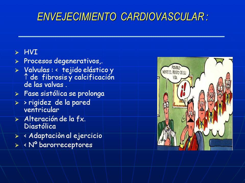 ENVEJECIMIENTO CARDIOVASCULAR : HVI Procesos degenerativos,. Valvulas : < tejido elástico y de fibrosis y calcificación de las valvas. Fase sistólica