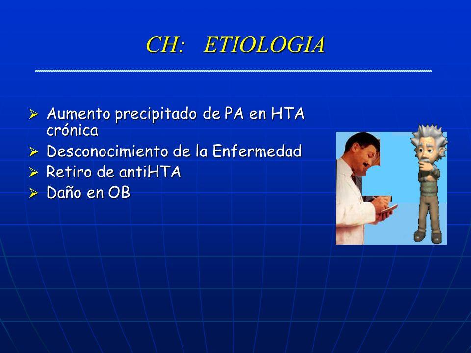CH: ETIOLOGIA Aumento precipitado de PA en HTA crónica Aumento precipitado de PA en HTA crónica Desconocimiento de la Enfermedad Desconocimiento de la