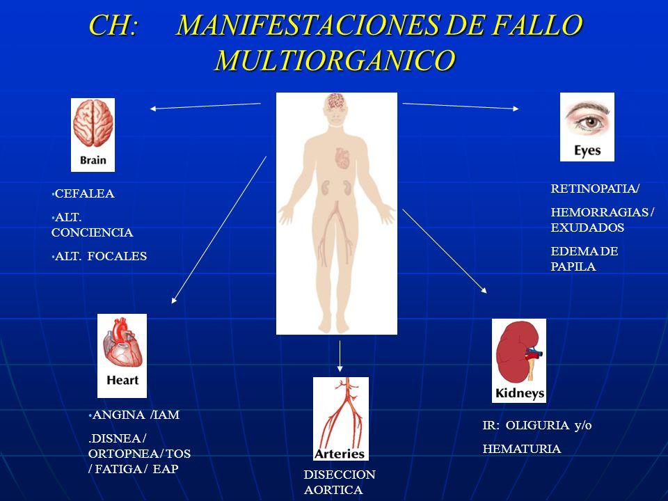 CH: MANIFESTACIONES DE FALLO MULTIORGANICO CEFALEA ALT. CONCIENCIA ALT. FOCALES ANGINA /IAM.DISNEA / ORTOPNEA / TOS / FATIGA / EAP RETINOPATIA/ HEMORR