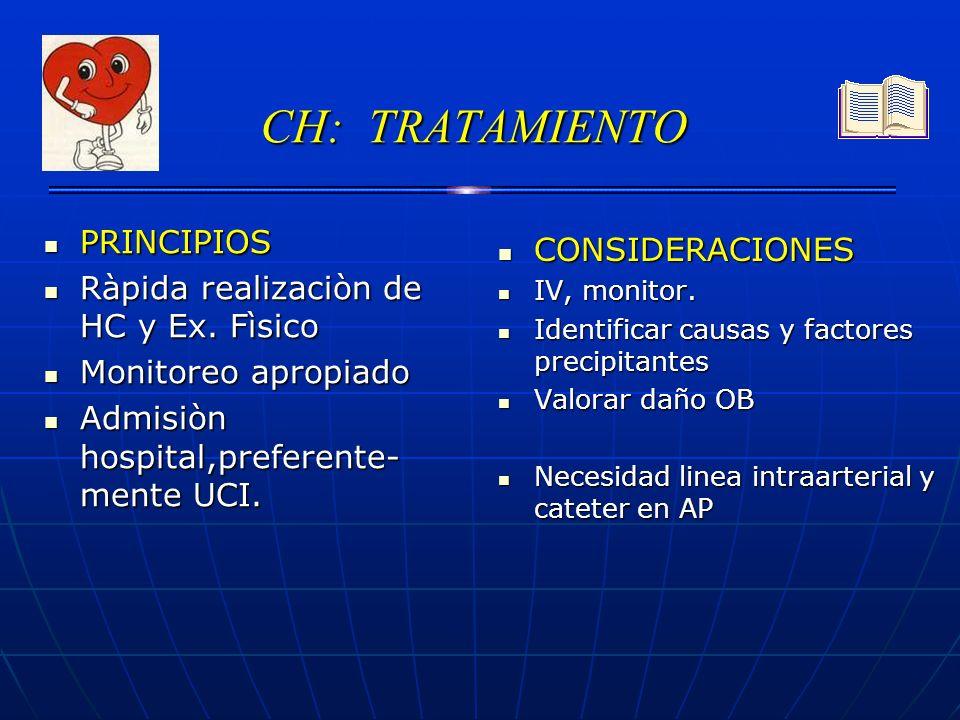 CH: TRATAMIENTO PRINCIPIOS PRINCIPIOS Ràpida realizaciòn de HC y Ex. Fìsico Ràpida realizaciòn de HC y Ex. Fìsico Monitoreo apropiado Monitoreo apropi