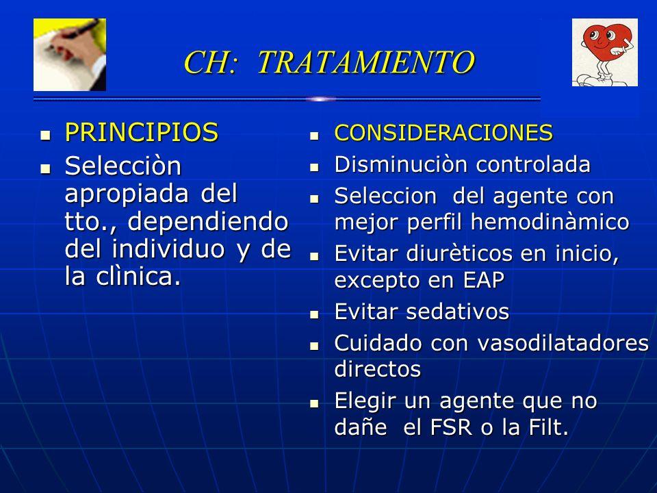 CH: TRATAMIENTO PRINCIPIOS PRINCIPIOS Selecciòn apropiada del tto., dependiendo del individuo y de la clìnica. Selecciòn apropiada del tto., dependien