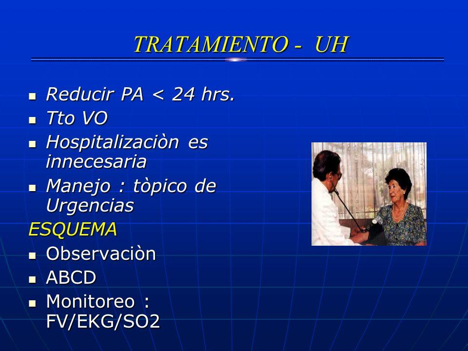 TRATAMIENTO - UH TRATAMIENTO - UH Reducir PA < 24 hrs. Reducir PA < 24 hrs. Tto VO Tto VO Hospitalizaciòn es innecesaria Hospitalizaciòn es innecesari