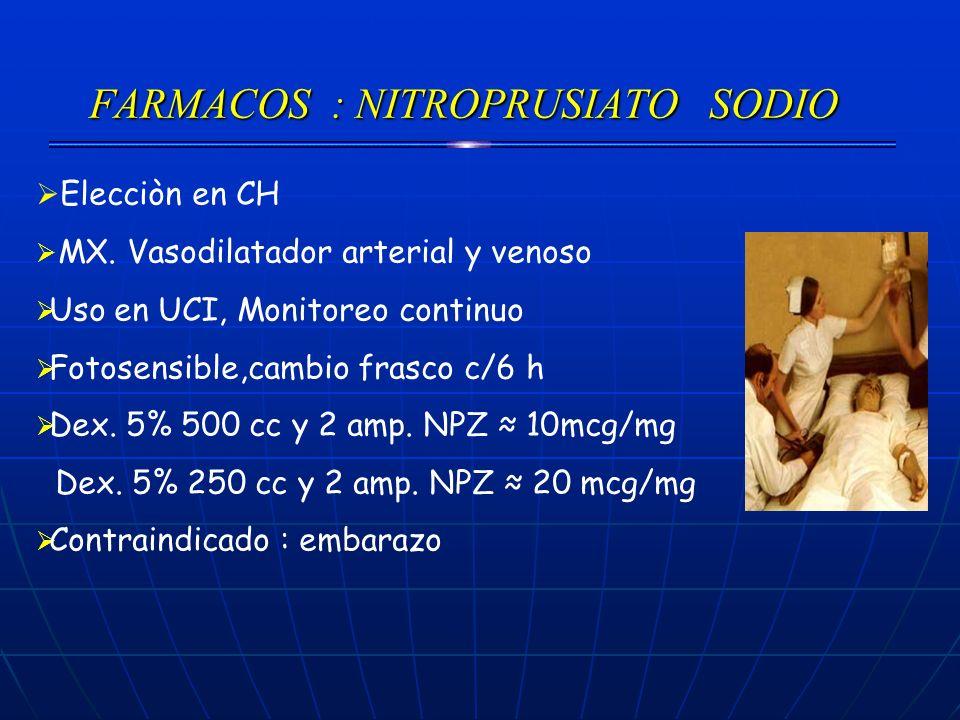 FARMACOS : NITROPRUSIATO SODIO Elecciòn en CH MX. Vasodilatador arterial y venoso Uso en UCI, Monitoreo continuo Fotosensible,cambio frasco c/6 h Dex.