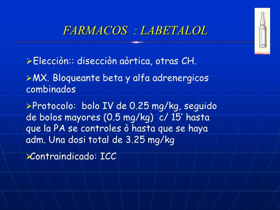 FARMACOS : LABETALOL Elecciòn:: disecciòn aòrtica, otras CH. MX. Bloqueante beta y alfa adrenergicos combinados Protocolo: bolo IV de 0.25 mg/kg, segu