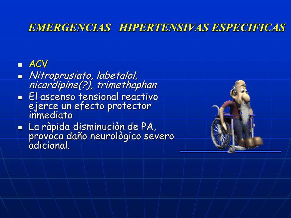EMERGENCIAS HIPERTENSIVAS ESPECIFICAS ACV ACV Nitroprusiato, labetalol, nicardipine(?), trimethaphan Nitroprusiato, labetalol, nicardipine(?), trimeth