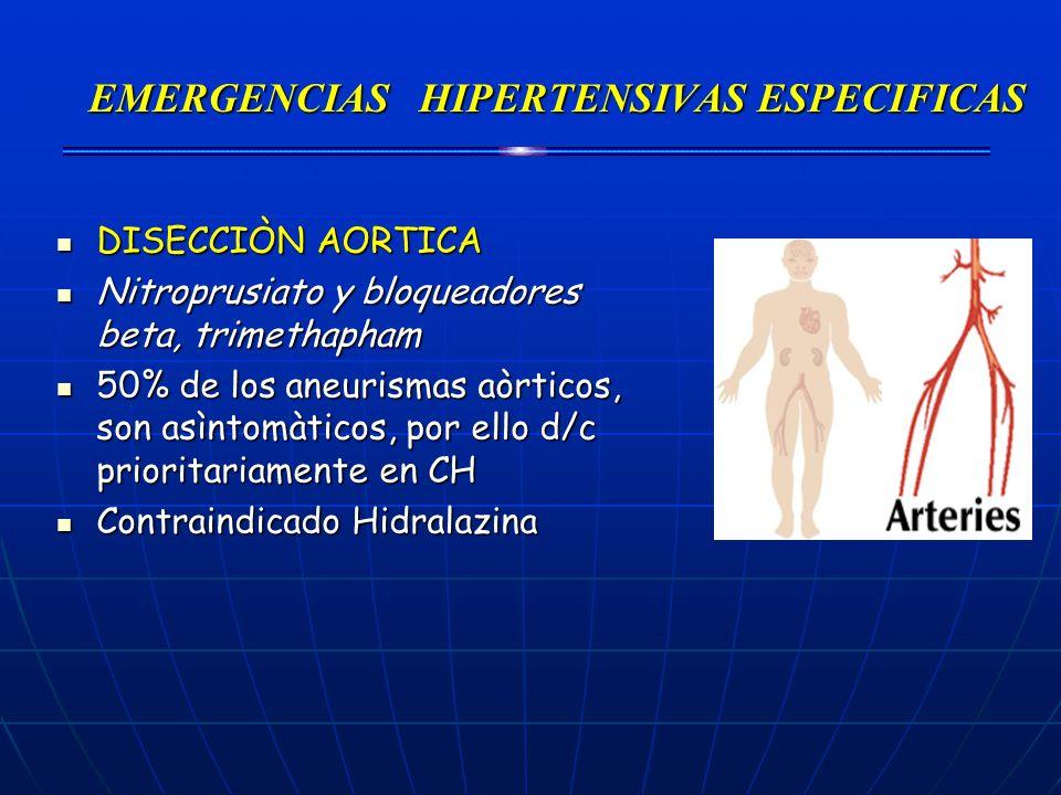 EMERGENCIAS HIPERTENSIVAS ESPECIFICAS DISECCIÒN AORTICA DISECCIÒN AORTICA Nitroprusiato y bloqueadores beta, trimethapham Nitroprusiato y bloqueadores