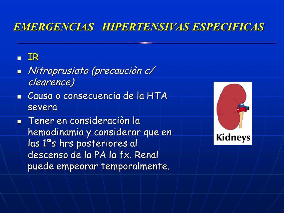 EMERGENCIAS HIPERTENSIVAS ESPECIFICAS IR IR Nitroprusiato (precauciòn c/ clearence) Nitroprusiato (precauciòn c/ clearence) Causa o consecuencia de la