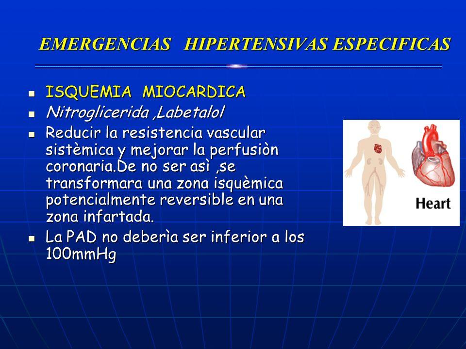 EMERGENCIAS HIPERTENSIVAS ESPECIFICAS ISQUEMIA MIOCARDICA ISQUEMIA MIOCARDICA Nitroglicerida,Labetalol Nitroglicerida,Labetalol Reducir la resistencia