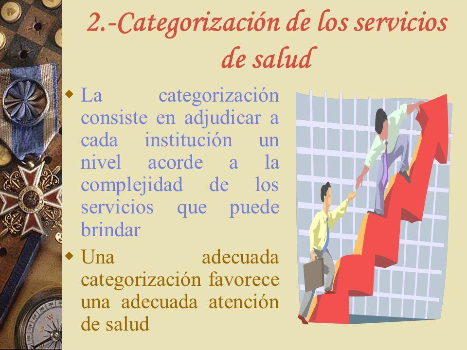 2.-Categorización de los servicios de salud La categorización consiste en adjudicar a cada institución un nivel acorde a la complejidad de los servici