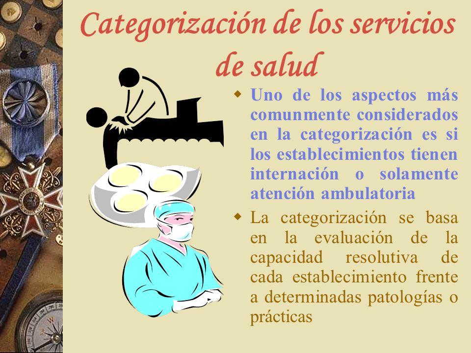 Categorización de los servicios de salud Uno de los aspectos más comunmente considerados en la categorización es si los establecimientos tienen intern