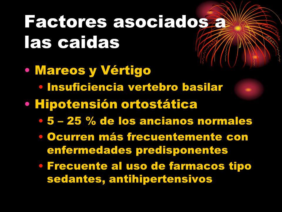 Factores asociados a las caidas Mareos y Vértigo Insuficiencia vertebro basilar Hipotensión ortostática 5 – 25 % de los ancianos normales Ocurren más