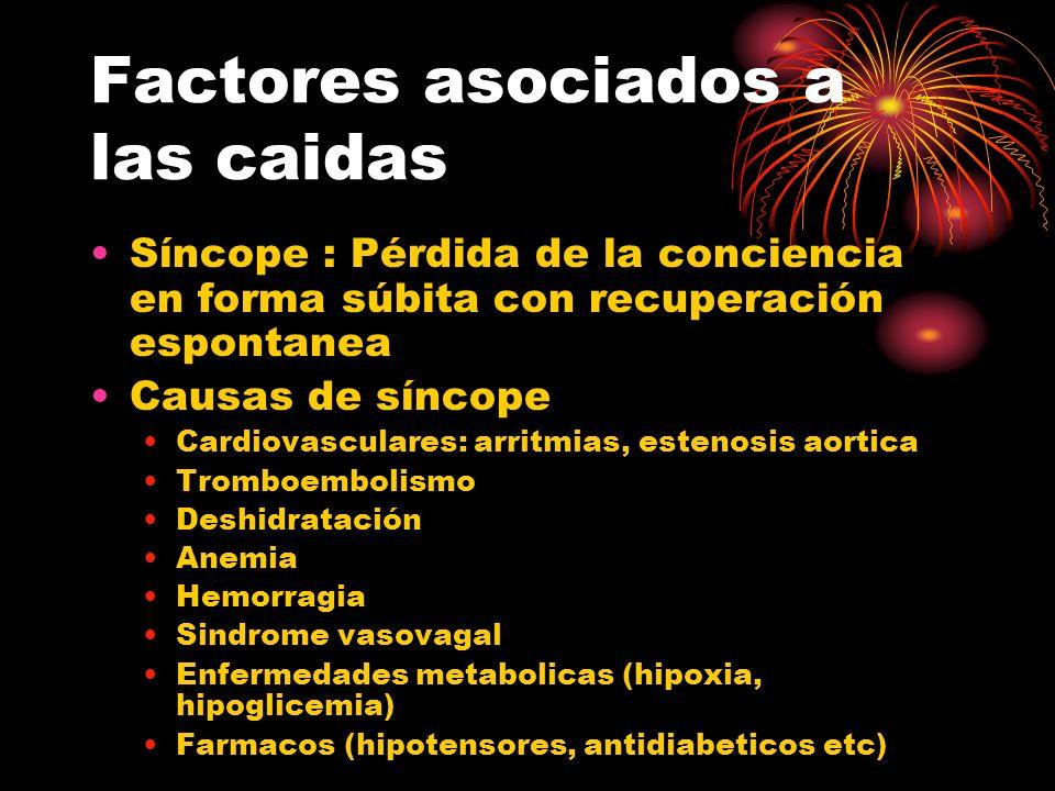 Factores asociados a las caidas Síncope : Pérdida de la conciencia en forma súbita con recuperación espontanea Causas de síncope Cardiovasculares: arr