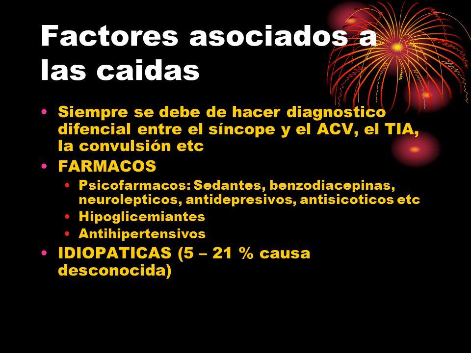 Factores asociados a las caidas Siempre se debe de hacer diagnostico difencial entre el síncope y el ACV, el TIA, la convulsión etc FARMACOS Psicofarm