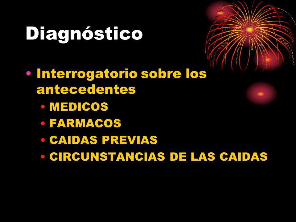 Diagnóstico Interrogatorio sobre los antecedentes MEDICOS FARMACOS CAIDAS PREVIAS CIRCUNSTANCIAS DE LAS CAIDAS