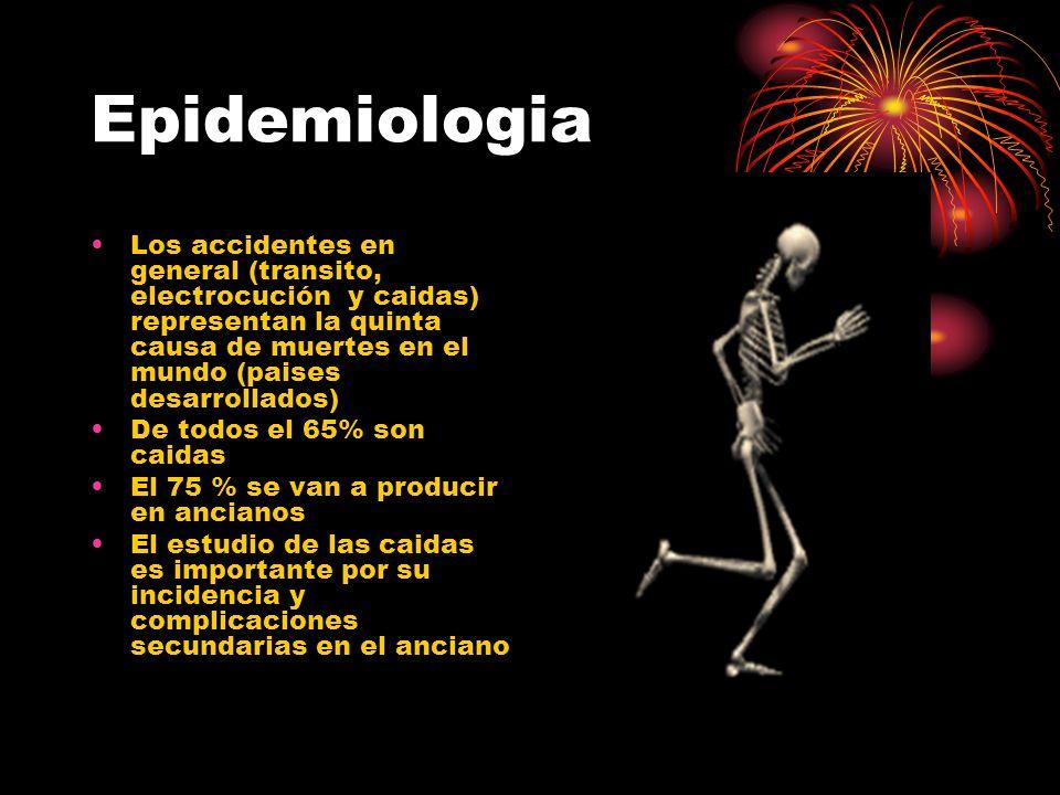 Epidemiologia Los accidentes en general (transito, electrocución y caidas) representan la quinta causa de muertes en el mundo (paises desarrollados) D
