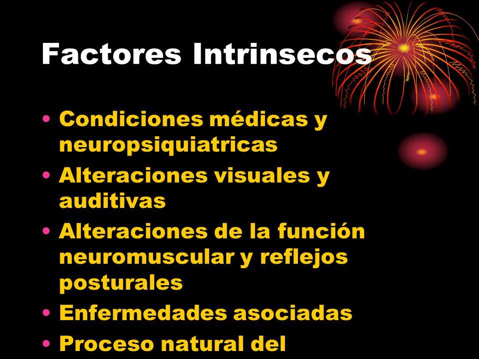 Factores Intrinsecos Condiciones médicas y neuropsiquiatricas Alteraciones visuales y auditivas Alteraciones de la función neuromuscular y reflejos po