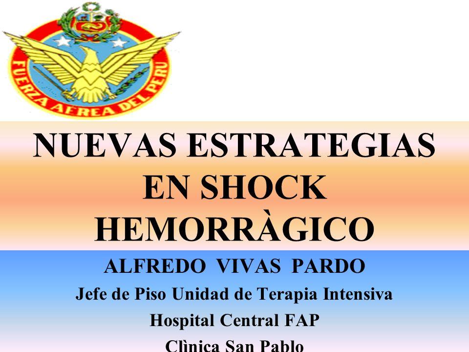 NUEVAS ESTRATEGIAS EN SHOCK HEMORRÀGICO ALFREDO VIVAS PARDO Jefe de Piso Unidad de Terapia Intensiva Hospital Central FAP Clìnica San Pablo