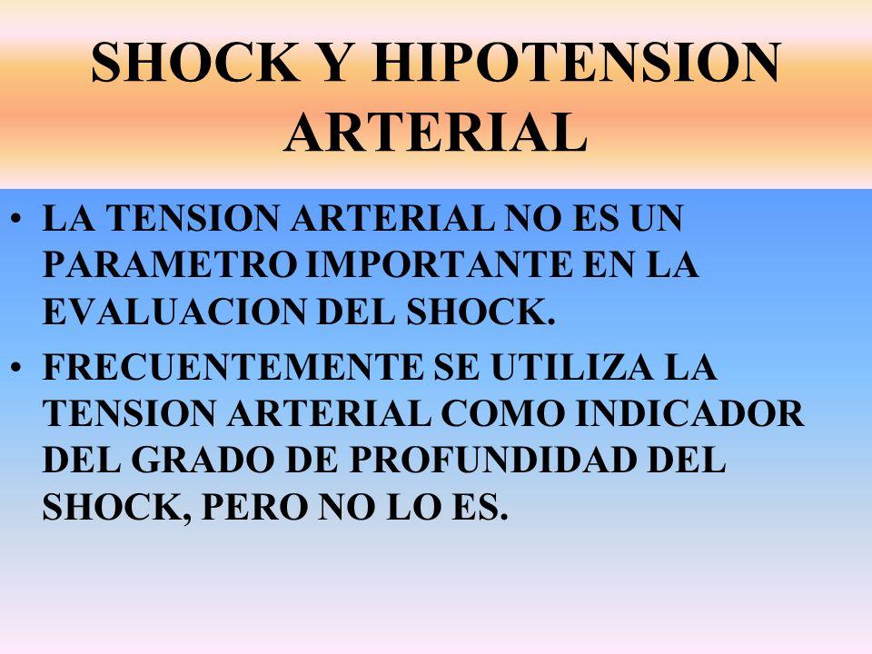 SHOCK Y HIPOTENSION ARTERIAL LA TENSION ARTERIAL NO ES UN PARAMETRO IMPORTANTE EN LA EVALUACION DEL SHOCK. FRECUENTEMENTE SE UTILIZA LA TENSION ARTERI