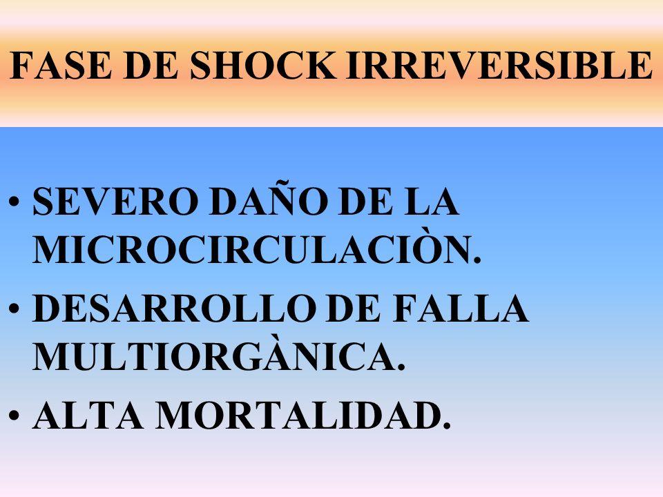 SEVERO DAÑO DE LA MICROCIRCULACIÒN. DESARROLLO DE FALLA MULTIORGÀNICA. ALTA MORTALIDAD. FASE DE SHOCK IRREVERSIBLE
