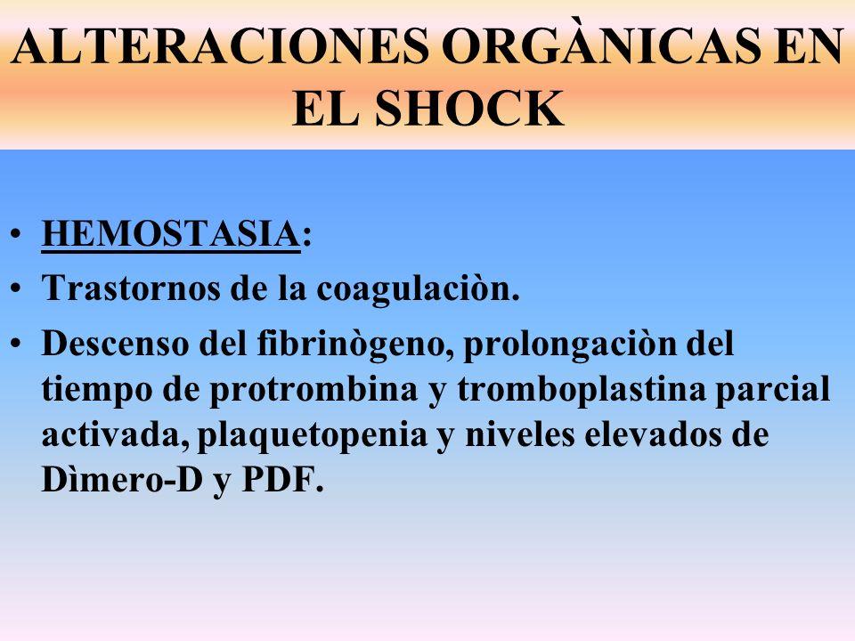 HEMOSTASIA: Trastornos de la coagulaciòn. Descenso del fibrinògeno, prolongaciòn del tiempo de protrombina y tromboplastina parcial activada, plaqueto