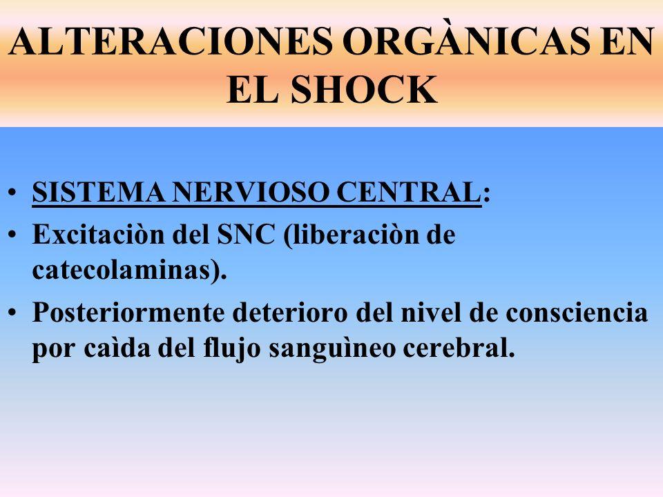 SISTEMA NERVIOSO CENTRAL: Excitaciòn del SNC (liberaciòn de catecolaminas). Posteriormente deterioro del nivel de consciencia por caìda del flujo sang