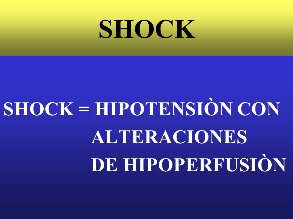 SHOCK Se ha demostrado que la temperatura de las extremidades (dedo gordo del pie), es un muy buen marcador de la perfusiòn, que al igual que el flujo de orina, correlacionan con el ìndice cardìaco.